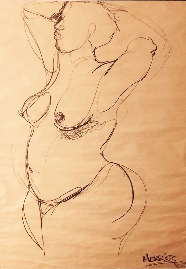 Life Study. 2009. Charcoal on paper. Private Collection.